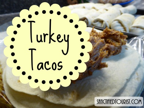 I made turkey tacos among other things with the extra turkeys I bought on sale after the holidays. Printable recipe enclosed.