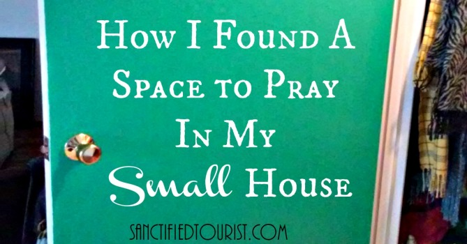 Here's how I found a space to pray in my small house after watching The War Room. Free printables of the prayer banner, labels, and prayer cards that I use in my time with God are included.