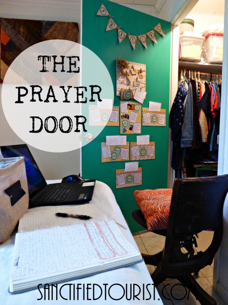 I want to show you how I found a space to pray in my small house after watching The War Room. Free printables of the prayer banner, labels, and prayer cards that I use in my time with God are included.